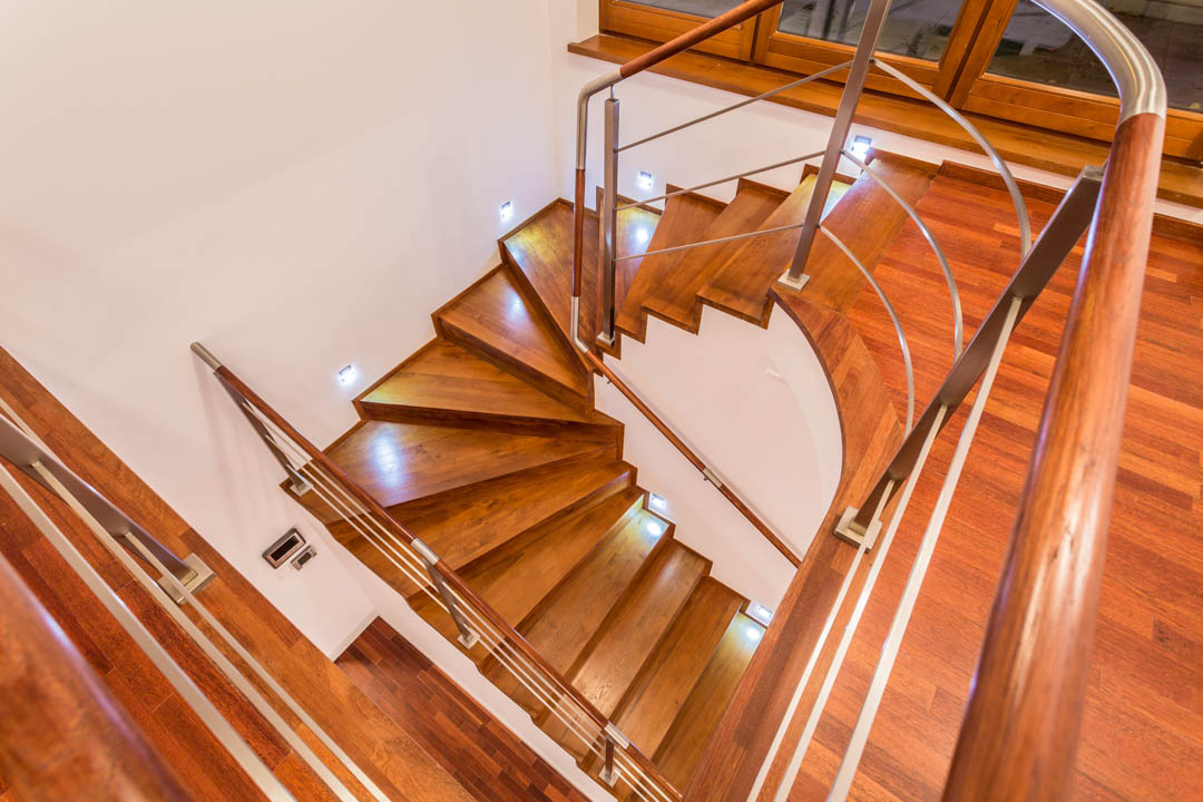Close-up of winding wooden stairs